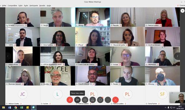 Coordenador Estadual da UNCME Santa Catarina, participa de reunião virtual
