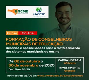 UNCME/SC: ABERTURA DO CURSO DE FORMAÇÃO DE CONSELHEIROS MUNICIPAIS DE EDUCAÇÃO TEM PARTICIPAÇÃO EXPRESSIVA